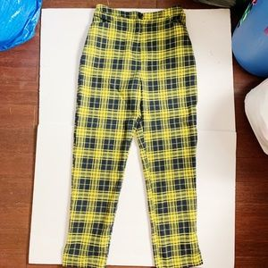 SEEK LF STORE HIGH WAISTED YELLOW PLAID PANTS